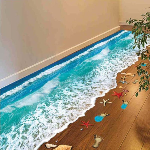 Romantic Sea Beach Floor Sticker 3D Simulation Beach Home Decor Decal For Decoration Bathroom Bedroom Living Room Backdrop Wall Sticker