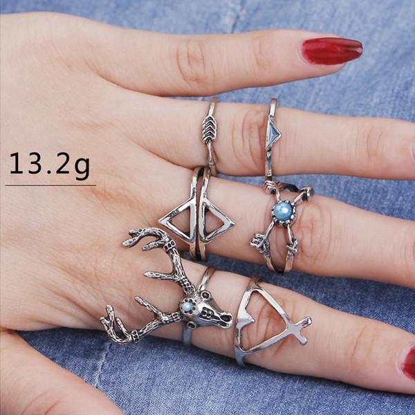 Vintage Ringe Set Buck Pfeil Kreuz der Bullseye Ring Frauen Kristall Knuckle Double Layer Tibetischen Breite Anillo Dreieck Ring Set
