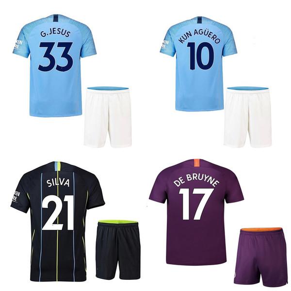 18 19 Manch City Fußball Jersey Shorts JESUS DE BRUYNE AGUERO SANE Fußball Set Männer Thai Qualität Fußball Kit WALKER SILVA Fußball Shirt Hosen