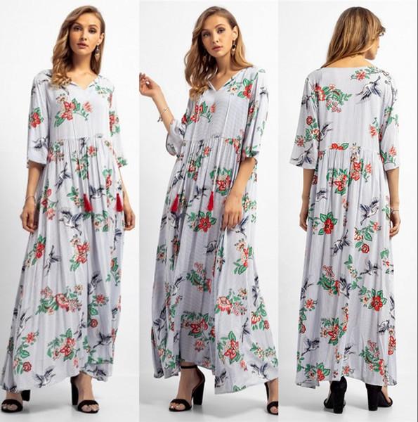 Drei Viertel Muslim Abaya Arabischen Frauen Kleid Lange Gedruckt Sommer Strand Kleider Charming Casual Sommerkleid FS5825