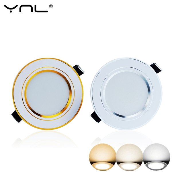 YNL 4pcs 3W LED Downlight Ceiling lamp Recessed Down light With Driver Changeable 3-Color Change Warm White Nature White Cool W