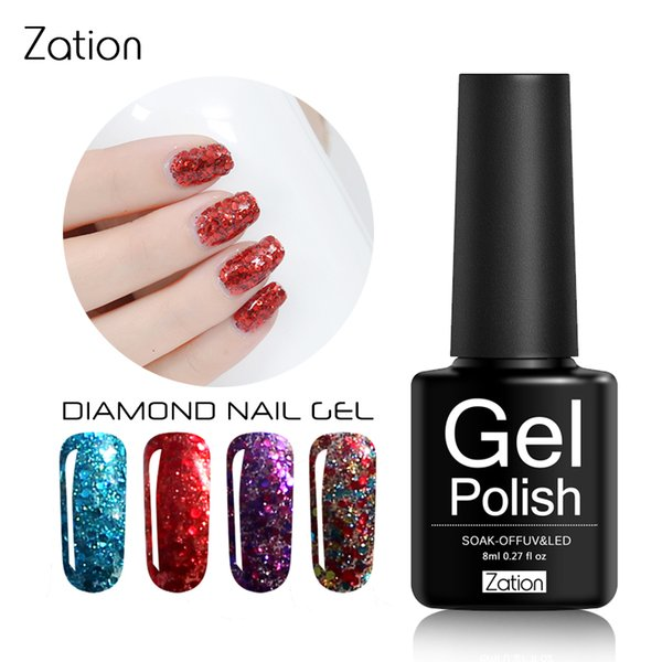 Zation Shine Diamond Stamp Esmalte de uñas Glitter Laca de uñas Colorful Holo Shine Esmalte de pintura Bling Varnish Shimmer Primer