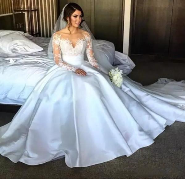 Steven Khalil 2020 vestidos de boda desmontable del tren Vestidos de novia de manga larga de alta lateral abierto apliques de encaje vestido de novia de sirena