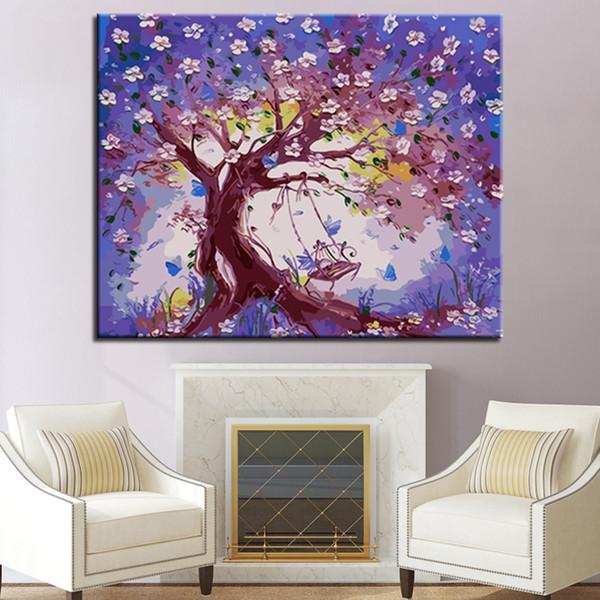 DIY Digital Swing Auf Der Pflaumenblüte Baum Ölgemälde Durch Zahlen Ausmalbilder Auf Leinwand Wohnkultur Büro Wandkunst Gerahmte