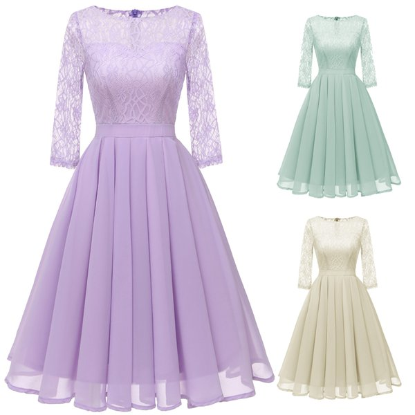 DH047 Vintage O-Neck Lace Dresses floral lace formal cocktail dress long sleeve angelic pretty Sweet Evening Party Dress