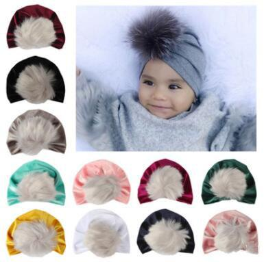 New newborn hat European and American children's cap gold velvet hair ball solid color Baby pullover hats
