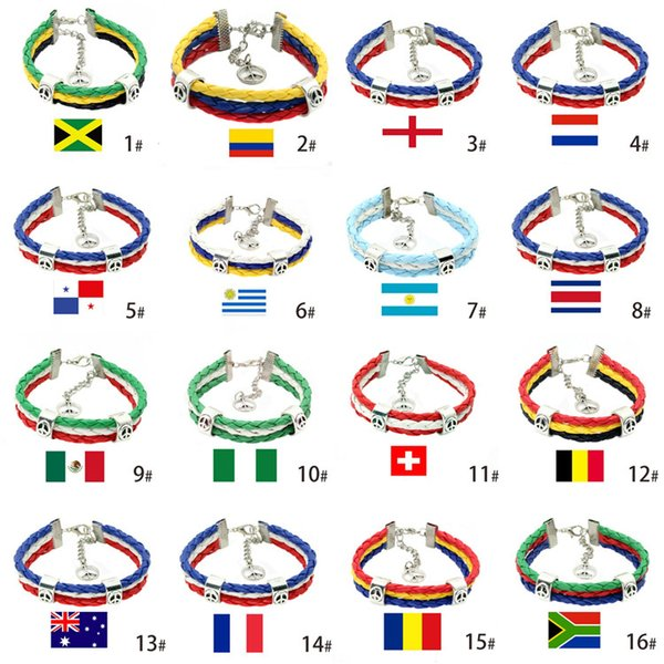 World Cup National Flag Leather Braided Bracelet Sports Wrist Fans Cmmemorative Gift For Party Decora Party Supplies T1I611
