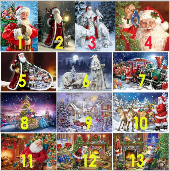 top popular 5D Diy Diamond Painting New Year Cross Stitch Full Diamond Embroidery Mosaic Landscape Winter Scenery Pattern Christmas 2021