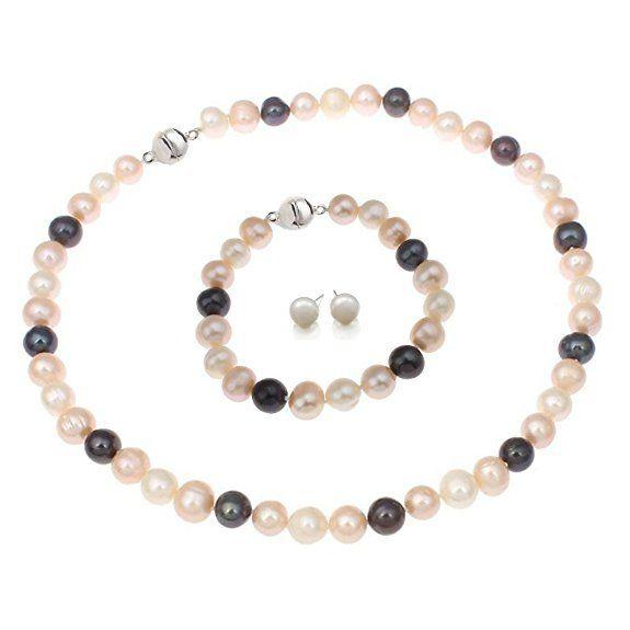 Hand made natural beautiful multicoloured 8-9mm cultured freshwater pearls necklace, bracelet earrings set fashion jewelry