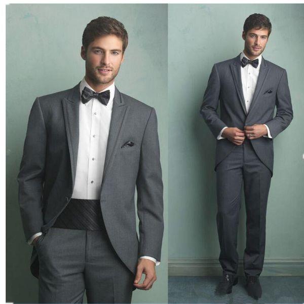 Men's single buckle gun collar collar tuxedo suit three-piece suit (jacket + pants + girdle) men's business suit wedding groom dress