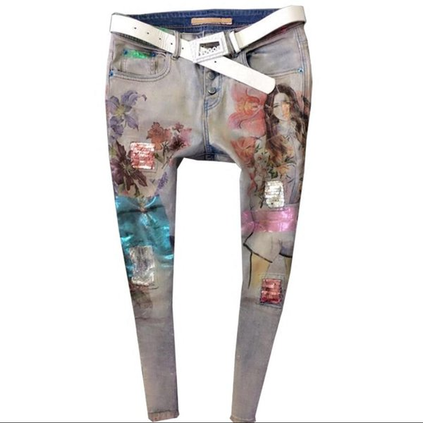 New 2018 Spring autumn Women Fashion Painted Beauty Sequined Pencil Jeans Tassel Vintage Pant