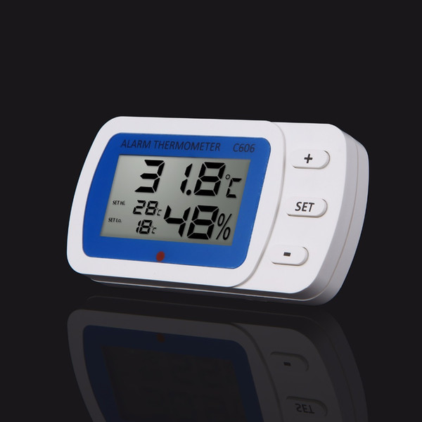 1PC Digital Thermometer&Hygrometer Large LCD Display with LED Alarm Indicator Light For Refrigerator/Factory/Fish Tank/House