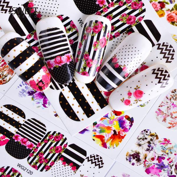 45 Folhas de Flores Misturadas Prego Decalques Nail Art Transferência de Água Adesivos Cobertura Completa Decalques Folha Wraps Beleza Arte Tatuagens LAWG45
