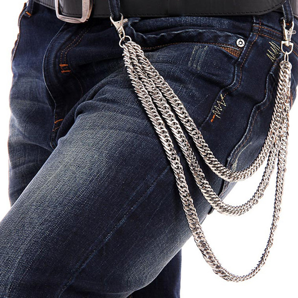 Simple Rock Punk 3 Lines Curb Chain Men Jeans Pant Wallet Metal Trousers Chain Silver Metal Clothing Accessories Jewelry DR39