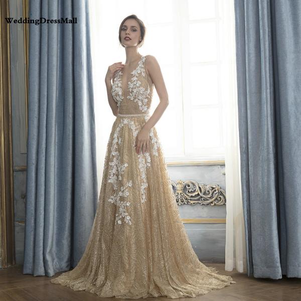 Compre Vestidos De Noche Dorados Vestidos De Fiesta Con Brillo Dorado Vestido De Festa Longo 2019 Vestido De Fiesta De Encaje Robe De Soiree Vestido