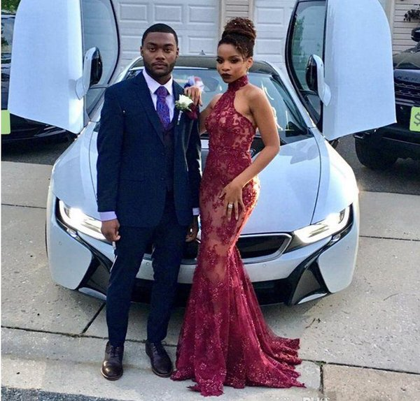 African Style Burgundy Mermaid Prom Dresses Long High Neck Lace Party Dress Black Girls Formal Evening Gown