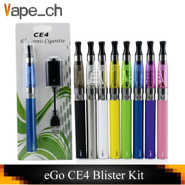 eGo CE4 starter kit Single CE4 Blister Kits 650mah 900mah 1100mah EGO-T Battery CE4 Clearomizer Atomizer vaporizer vape pen