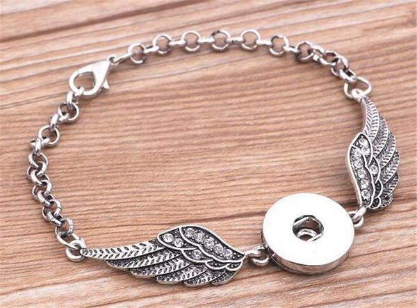 Crystal Angel alas pulseras brazaletes de plata antigua bricolaje jengibre Snaps botón joyería 2017 nuevo estilo pulseras KKA1896