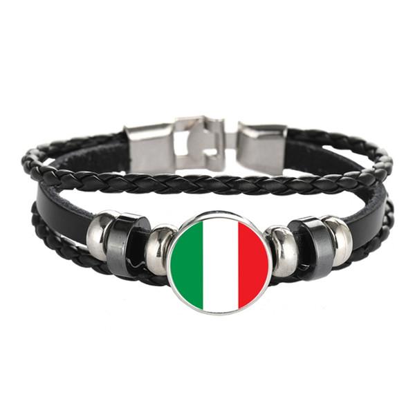 Bracelets en cuir Snap Button Punk Royaume-Uni Italie Hongrie Jamaïque Chili Drapeaux Verre Cabochon Charme Femmes Cadeaux Bijoux En Gros
