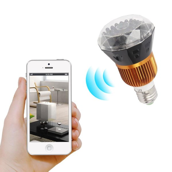 32GB Memory P2P 1080P HD Wifi IP Camera Mirror Bulb Camera Mini Camcorders Motion Activated Camcorder Security DVR for Android Cam PQ240C
