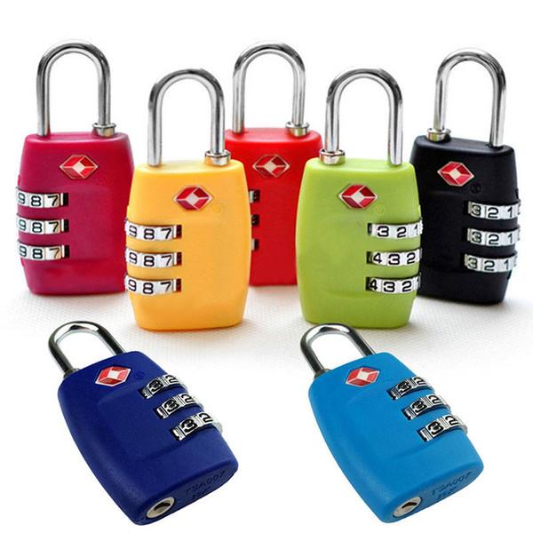 Customs Luggage Padlock Security TSA 3 Digit Code Travel Luggage Lock Combination Resettable Padlock Suitcase DDA749 Bag Parts & Accessories