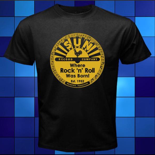 2018 Anime Print Tee New Sun Record Logo Rock N Roll Music Black T Shirt  Size S 3XL Hip Hop Tops Tees Gag T Shirts T Shirts With Prints From