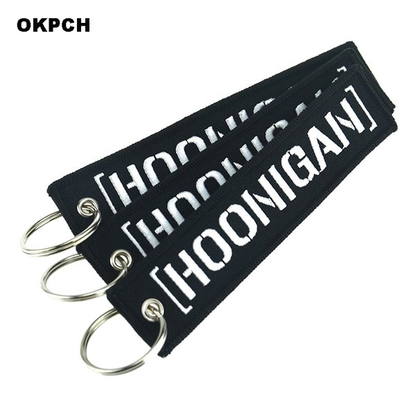 Fashion Key Chains for Aviation Embroidery Hoonigan Keychain for Cars and Motorcycles Key Fobs