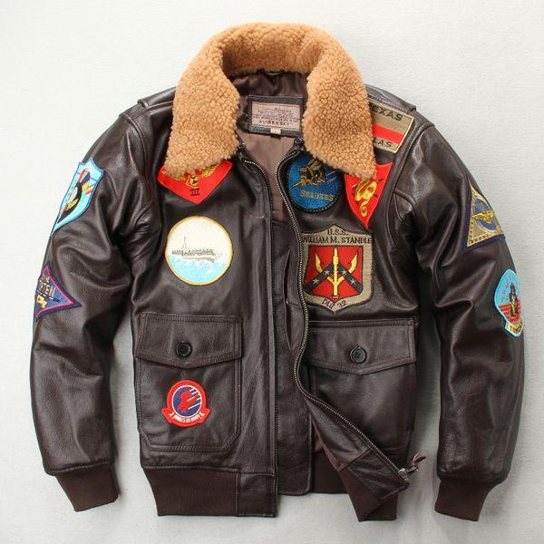 Acquista Tuta Da Volo Air Force G1 Camicia Uomo In Pelle Di Cotone Collo Di Pelliccia Di Agnello Primo Strato In Vera Pelle A $265.79 Dal