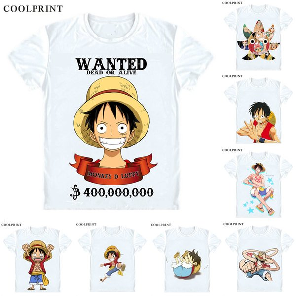 COOLPRINT ONE PIECE T-Shirts Short Sleeve Shirts Anime Manga Wan Pisu Straw Hat Pirates Monkey D. Luffy Straw Hat Luffy Cosplay Shirt