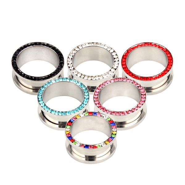 2 unids Colorido Tornillo de Acero Fit Flesh Ear Plugs y Túneles Piercing Ear Gauges Camillas Body Jewelry Piercing Expander