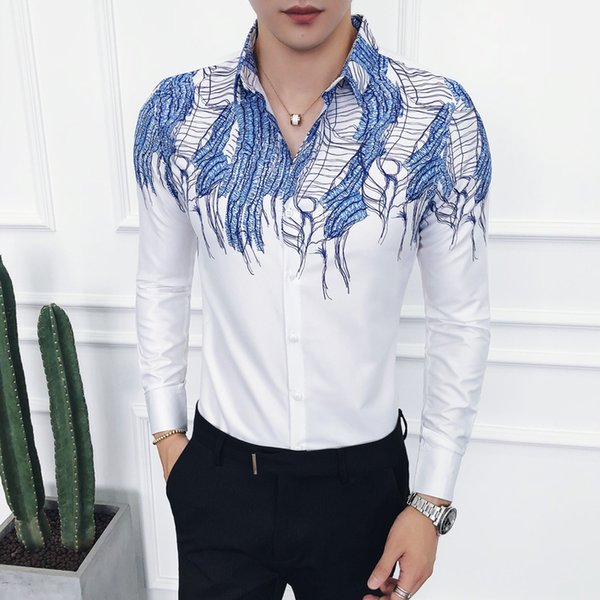 Autumn New Arrival Cusual Mens Shirts Personality Floral Collar Non-ironing Shirts Fashion Youth Long Sleeve Slim Fit Shirt Men