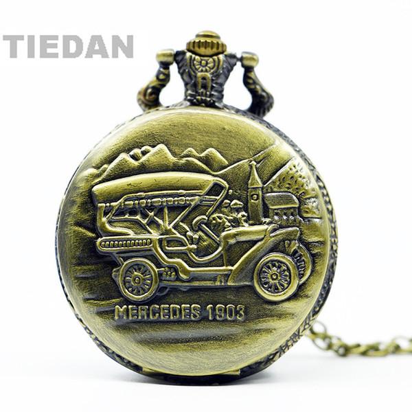 MARCA TIEDAN Nuovo arrivo MERCEDES Old Car Antique Retro tasca orologi in bronzo con collana a catena per uomo donna regali Fob Watch