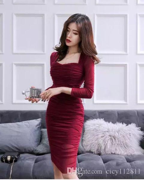 2018 Korean version of the autumn new nightclub sexy pleated slim slimming five-point sleeve dress