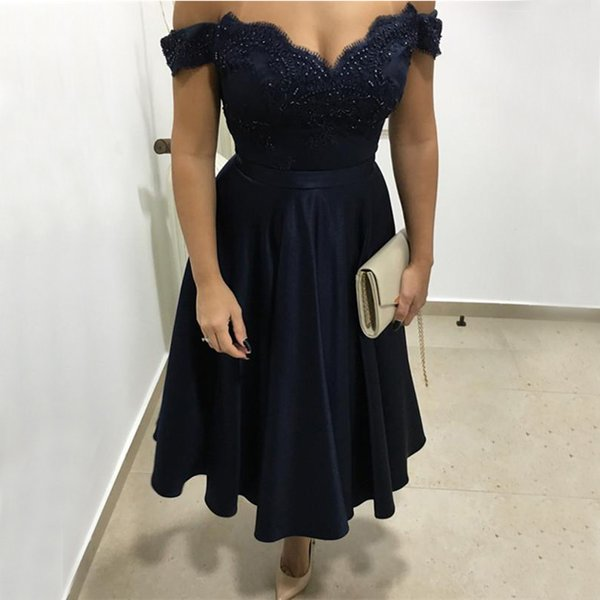 Short Navy Blue Prom Dresses Sexy Off Shoulder Vintage Lace Beaded Keen Length 2019 Girls Homecoming Party Dress Cheap Vestidos De Fiesta Prom Dresses