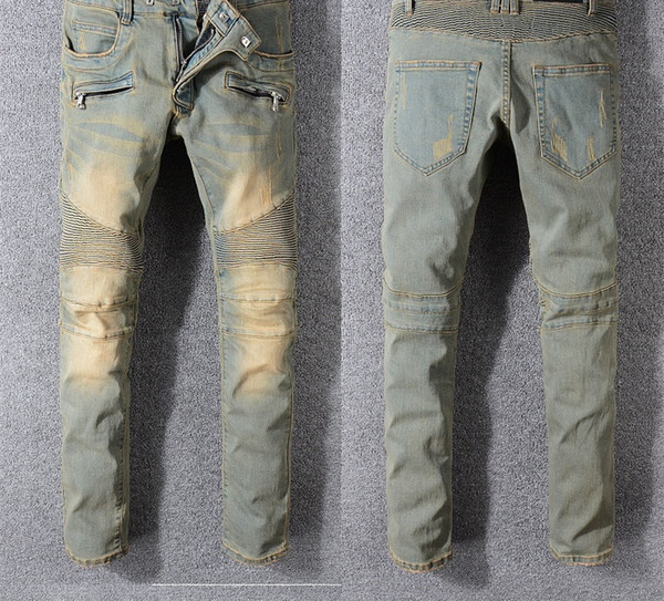 Verano Nuevos Hombres Agujeros Parche de Bolsillo Moda Impreso Casual Cremallera Ripped Jeans Longitud de Rodilla Biker Denim Pantalones Largos 937