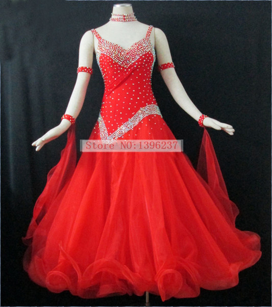 Ballroom Competition Dancing Dress For Women Red Color Led Suits Lady's Backless Standard Flamenco Ballroom Dance Dresses