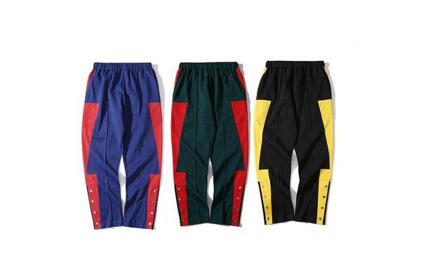 2018 Brand Designer Colour Blocking Side Buttons Women Men Casual Pants Joggers Hiphop Streetwear Men Pants Trousers