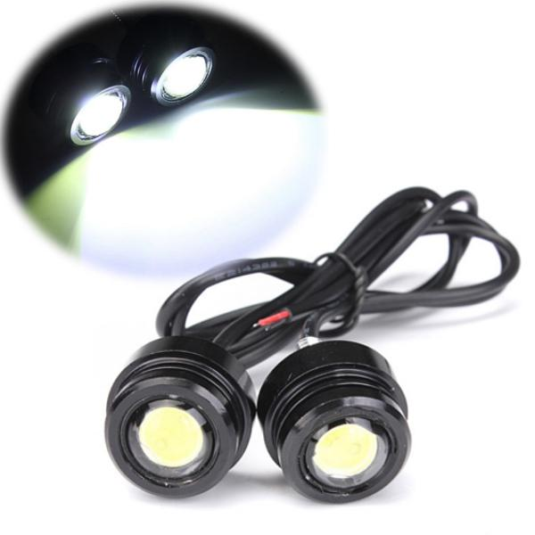 1 Pair 12V 3W 8000-8500K Bright LED Motorcycle Mirror Mount Light Daytime Running Fog Lamp