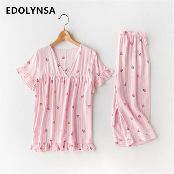 Осень женщины хлопок пижамы наборы с длинным рукавом пижамы набор из двух частей дышащий пижамы домашняя одежда Женская пижамы пеньюар T227