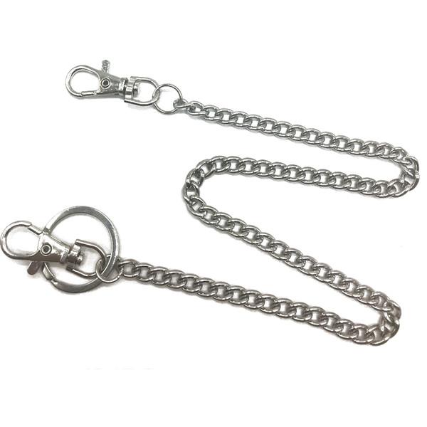 RIEJIKVWA 38cm/ 45cm Fashion Punk Hip-hop Trendy Belt Waist Chain Male Pants Chain Men Jeans Punk Silver Metal Trousers Chains