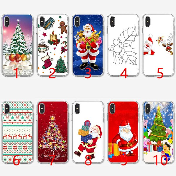Christmas Gift Santa Claus Tree Soft Silicone TPU Phone Case for iPhone 5 5S SE 6 6S 7 8 Plus X XR XS Max Cover