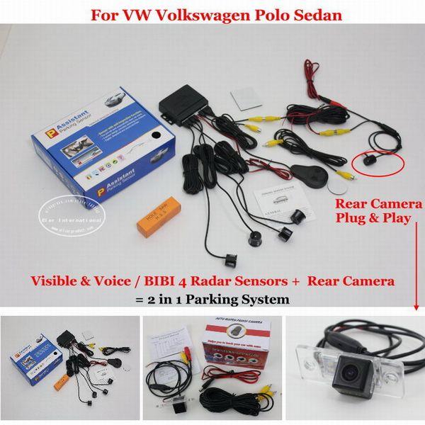 Liislee Parkplatzsensoren + Rückfahrkamera = 2 in 1 visuelle BIBI Alarmanlage für VW Polo Limousine 2003 ~ 2008