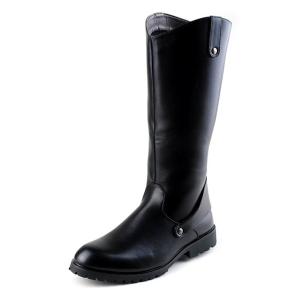 New Arrival Winter Long Knee High Boots Men Black Round Toe PU leather Boot Cowboy Motorycycle Boot Riding Soldiers boots Men Shoes 38-45