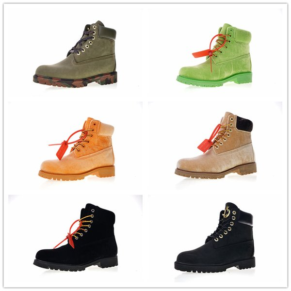 2018 Designer TBL Premium 6 Inch Leather Velvet Hiking Winter Boots Army Camouflage Fashion Winter Boots Women Mens Snow Rain Shoes 36-46