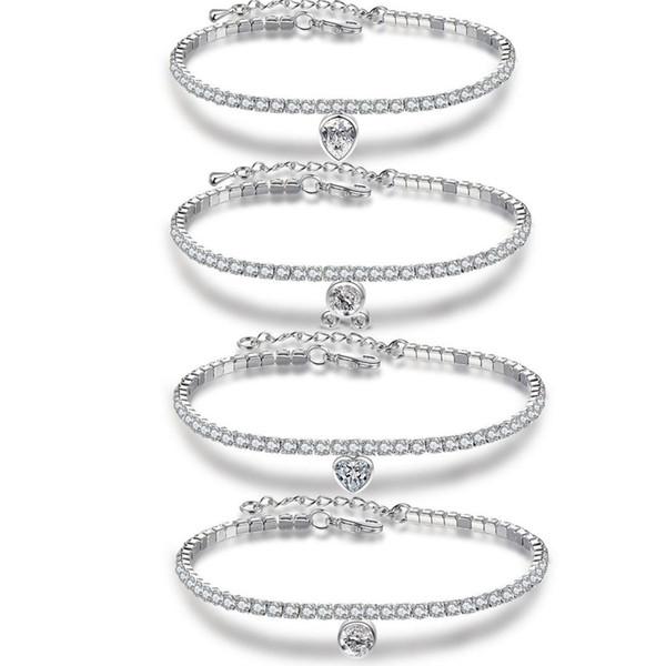 4 Pcs Pendant Bangle Bracelets Cubic Zirconia Tennis Bracelet Bangles For Women Simple Bracelets New Fashion Lady Jewelry Pulseras Mujer