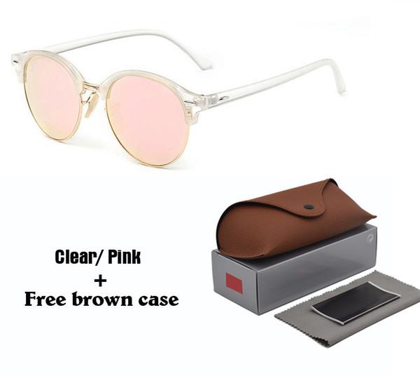Nueva moda gafas de sol redondas para hombre para mujer Diseñador de la marca Gafas de sol mujeres hombres Marco de cuadro Flash Mirror UV400 Lente de protección con estuches