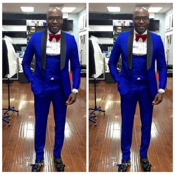 New Arrivals 2019 Custom Royal Blue Groom Tuxedos With Black Lapel Groomsmen Best Man Blazer Mens Wedding Suits (Jacket+Pants+Vest)