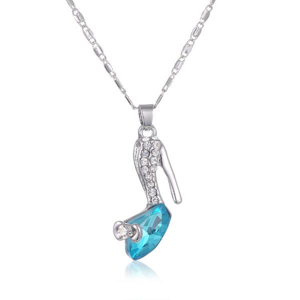 glass shoes necklace Austrian crystal pendant necklace Cinderella dream heels sautoir accessories wholesale