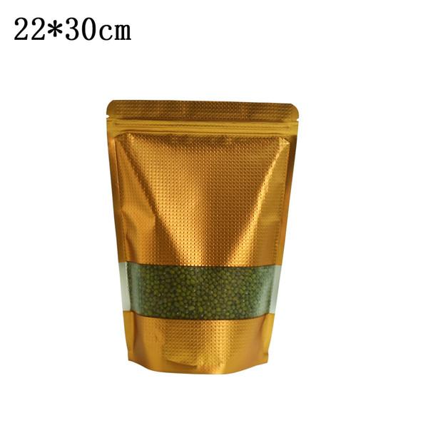 50pcs/lot 22*30cm Embossed Large Aluminum Foil Doypack Bag Food Bean Grain Storage Stand Up Resealable Golden Mylar Plastic Bag
