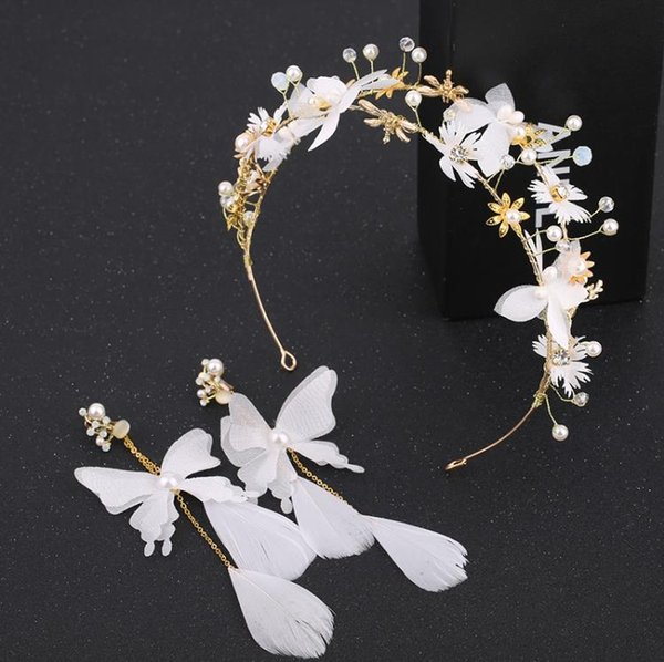 Japón y Corea del Sur la nueva novia tocado de hadas hermosa mariposa pelo inteligente yun hilado pelo aro flores blancas vestido de novia accessori